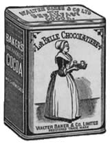 Image: an old advertising illustration of a tin of Baker's Cocoa