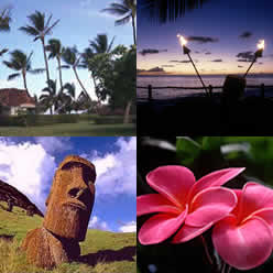 Photos, clockwise from top left: Kaanapali Beach Maui, tiki torches on the beach at sundown, pink plumeria blossoms, Easter Island