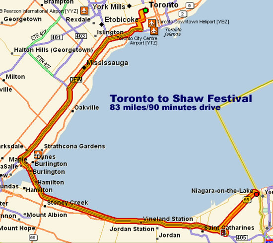 Map -- Toronto to Shaw Festival