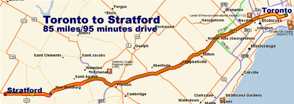 Map -- Toronto to Stratford Shakespeare Festival